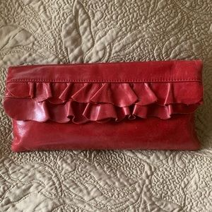 Adorable ❣️ HOBO bag. Leather RUFFLES. Wine red.